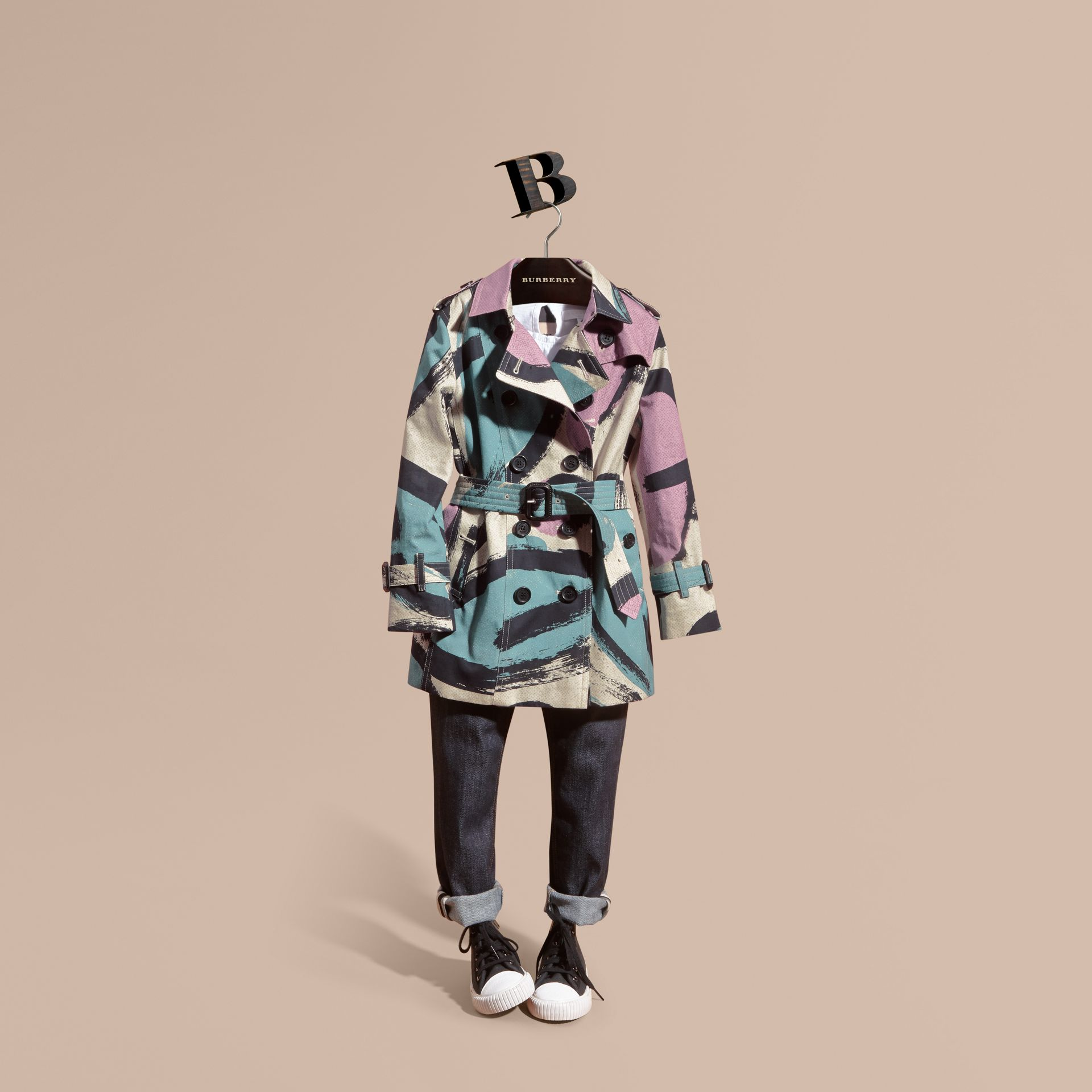Graphic Print Cotton Trench Coat - gallery image 1