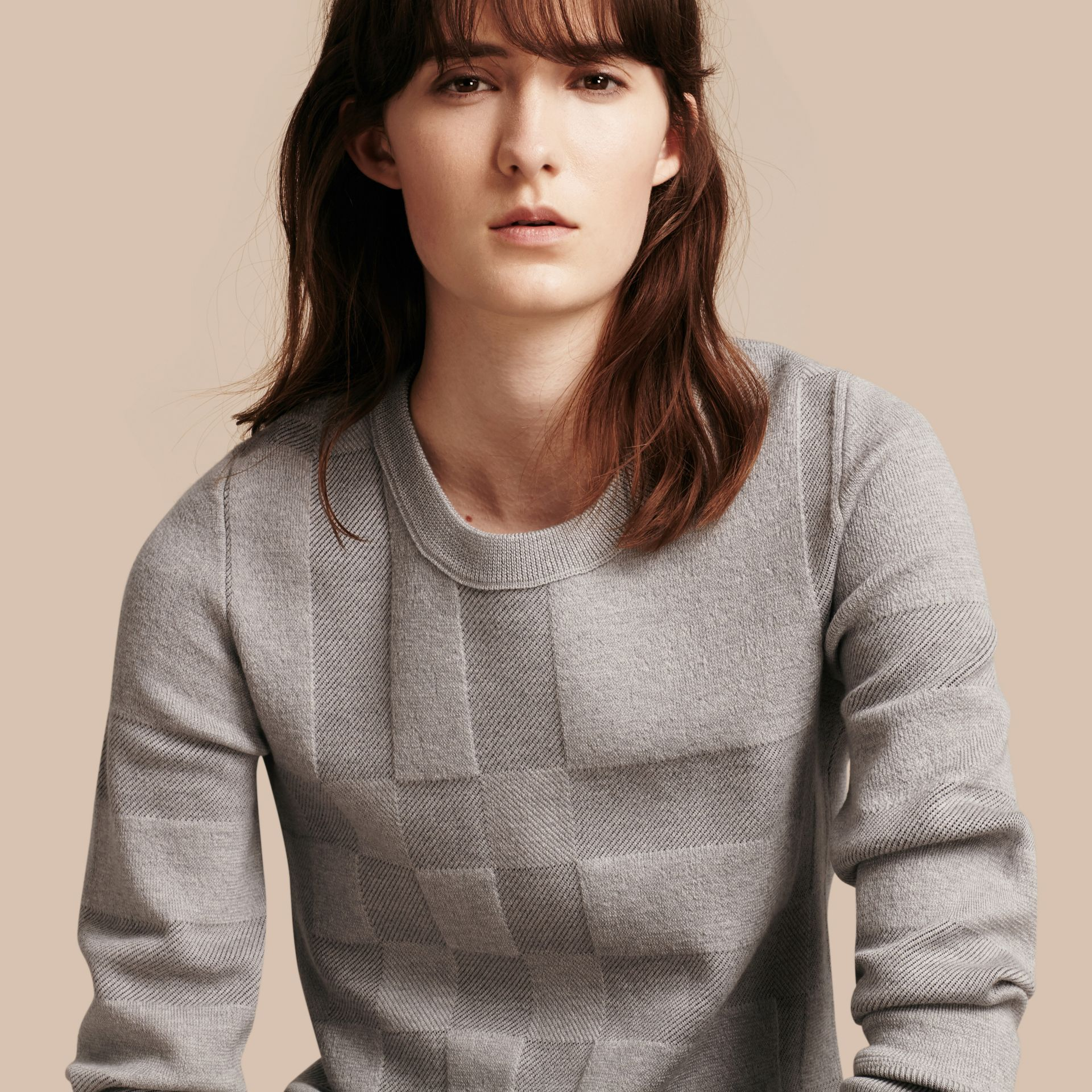 Check Knit Wool Blend Sweater in Mid Grey Melange - Women | Burberry United Kingdom - gallery image 1