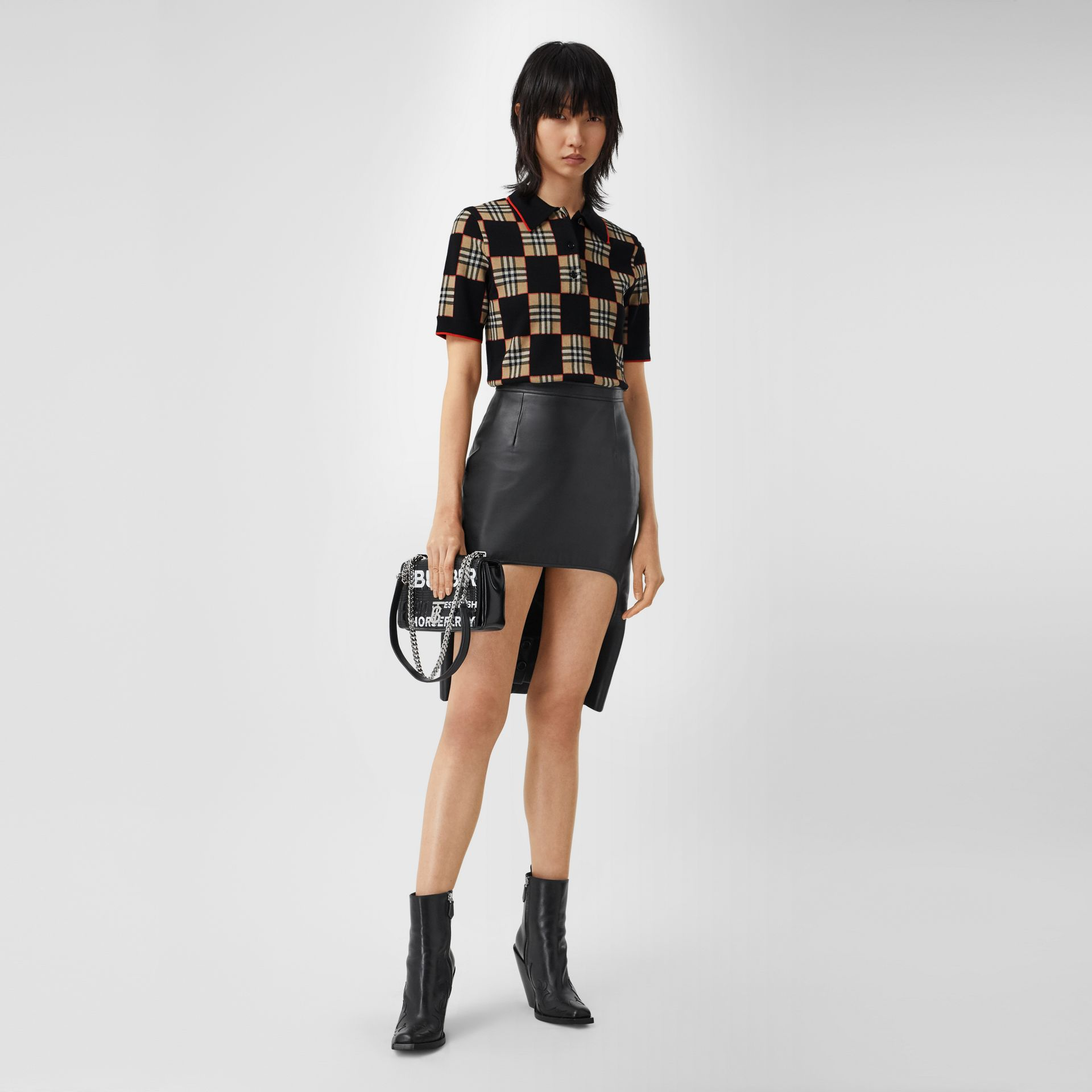 Chequer Merino Wool Blend Jacquard Polo Shirt in Black/archive Beige - Women | Burberry Hong Kong S.A.R - gallery image 0