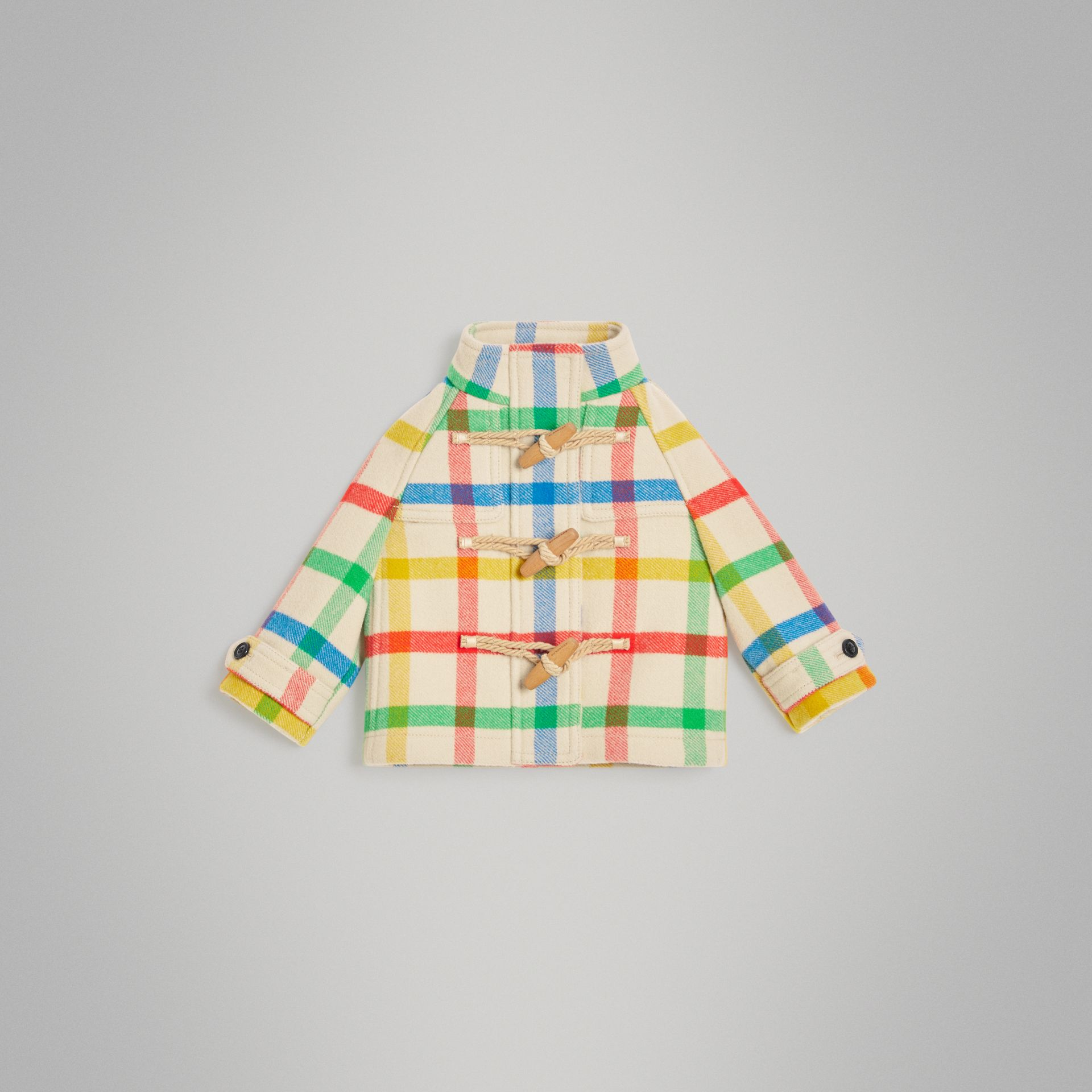 Duffle-coat en sergé de laine à motif check (Jaune Antique) - Enfant | Burberry - photo de la galerie 0
