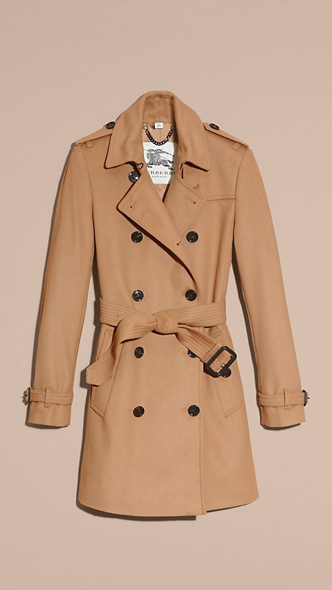 Camel Wool Cashmere Trench Coat - Image 4