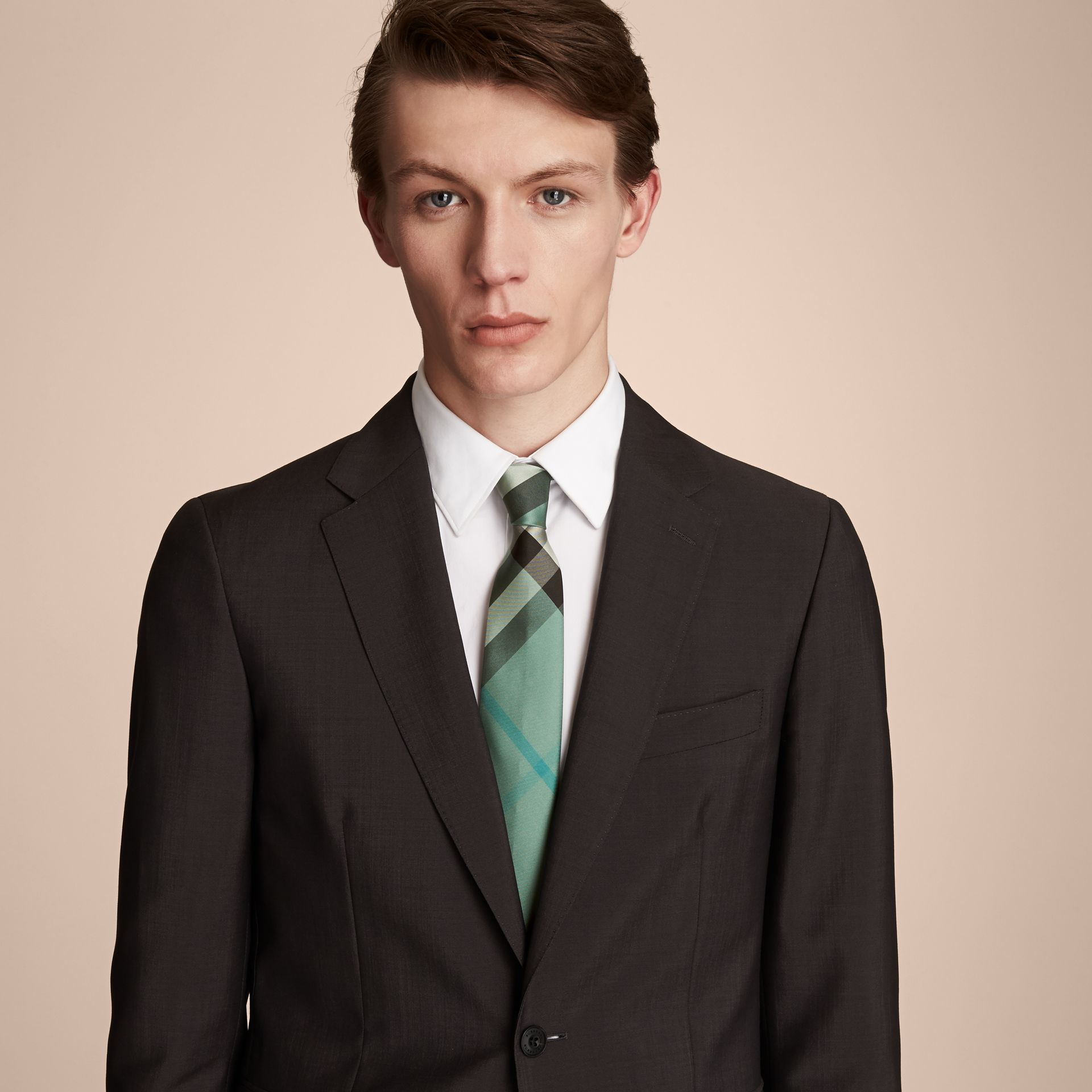 Modern Cut Check Silk Tie in Sea Green - Men | Burberry - gallery image 3