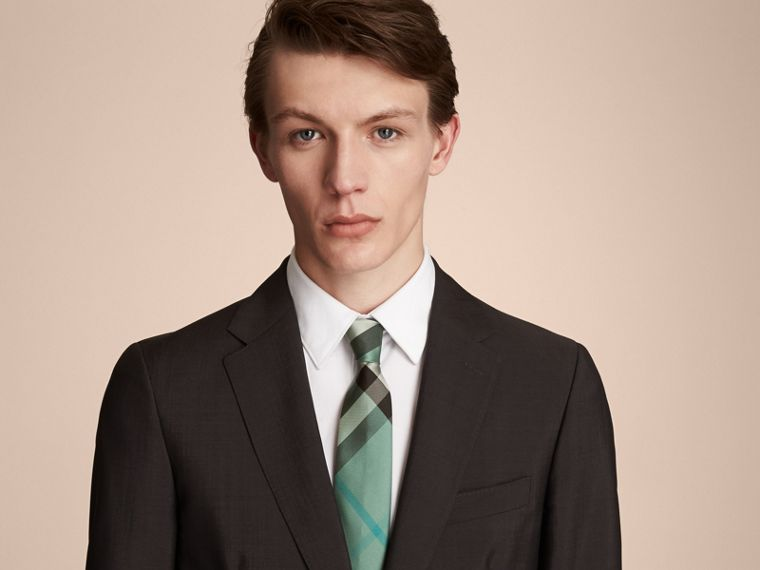Modern Cut Check Silk Tie in Sea Green - Men | Burberry - cell image 2