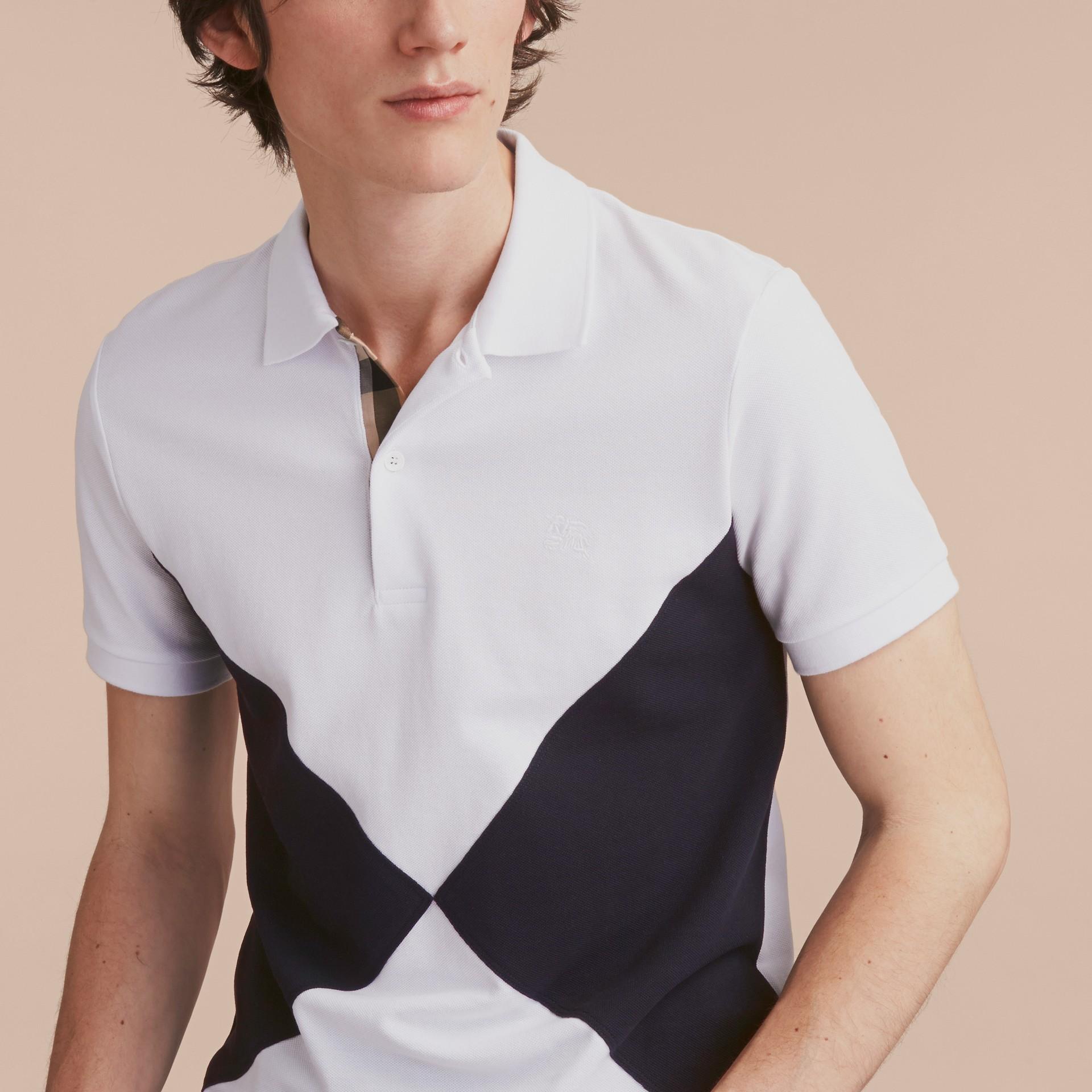 Geometric Motif Cotton Piqué Polo Shirt with Check Placket White - gallery image 5