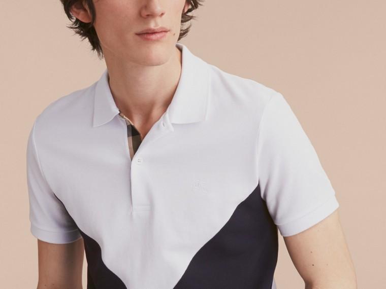 Geometric Motif Cotton Piqué Polo Shirt with Check Placket White - cell image 4