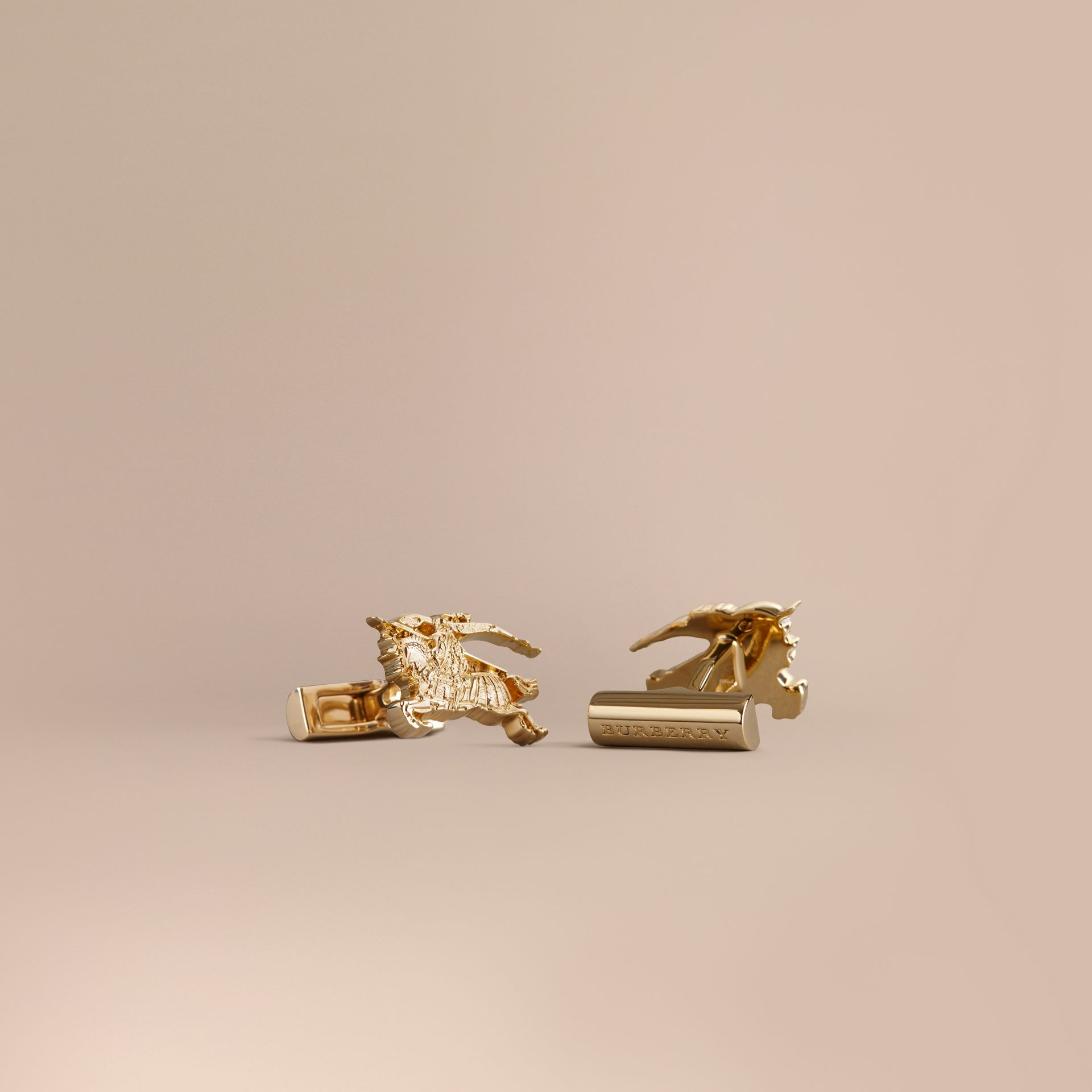 Equestrian Knight Cufflinks in Light Gold - gallery image 1