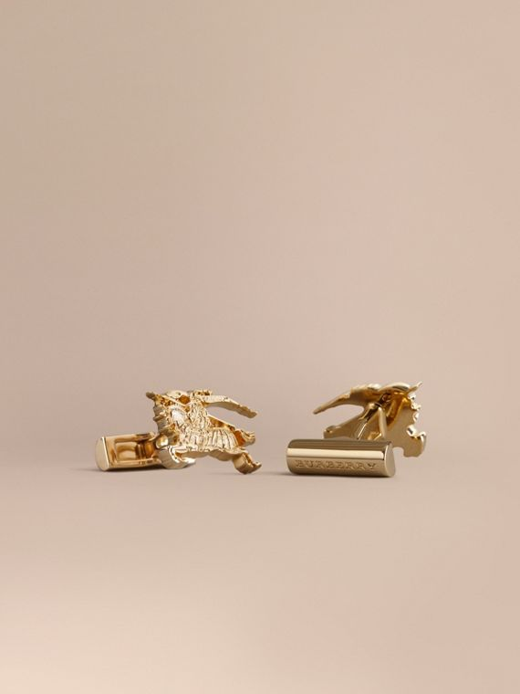Equestrian Knight Cufflinks in Light Gold - Men | Burberry