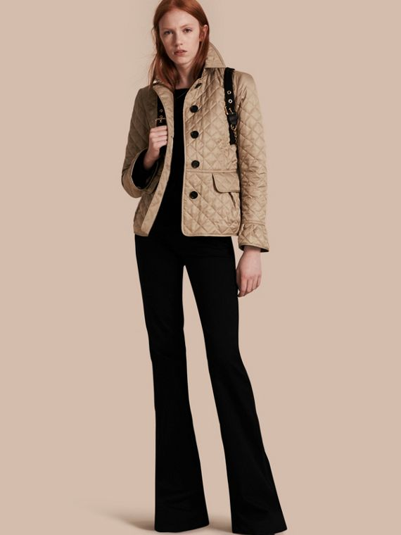 Diamond Quilted Peplum Jacket Canvas