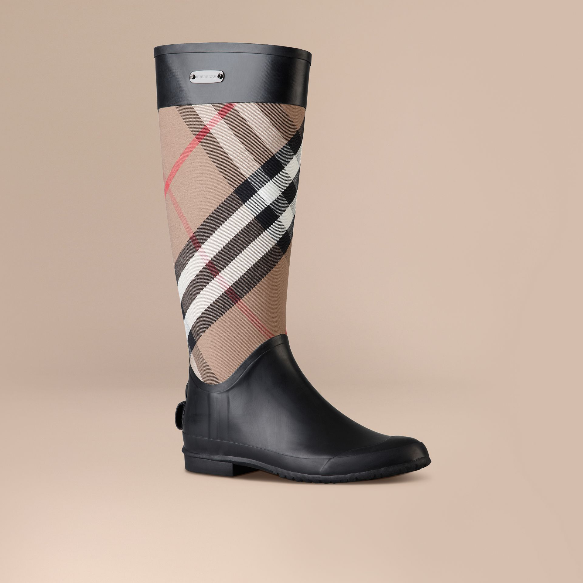 House check Check Panel Rain Boots - gallery image 1