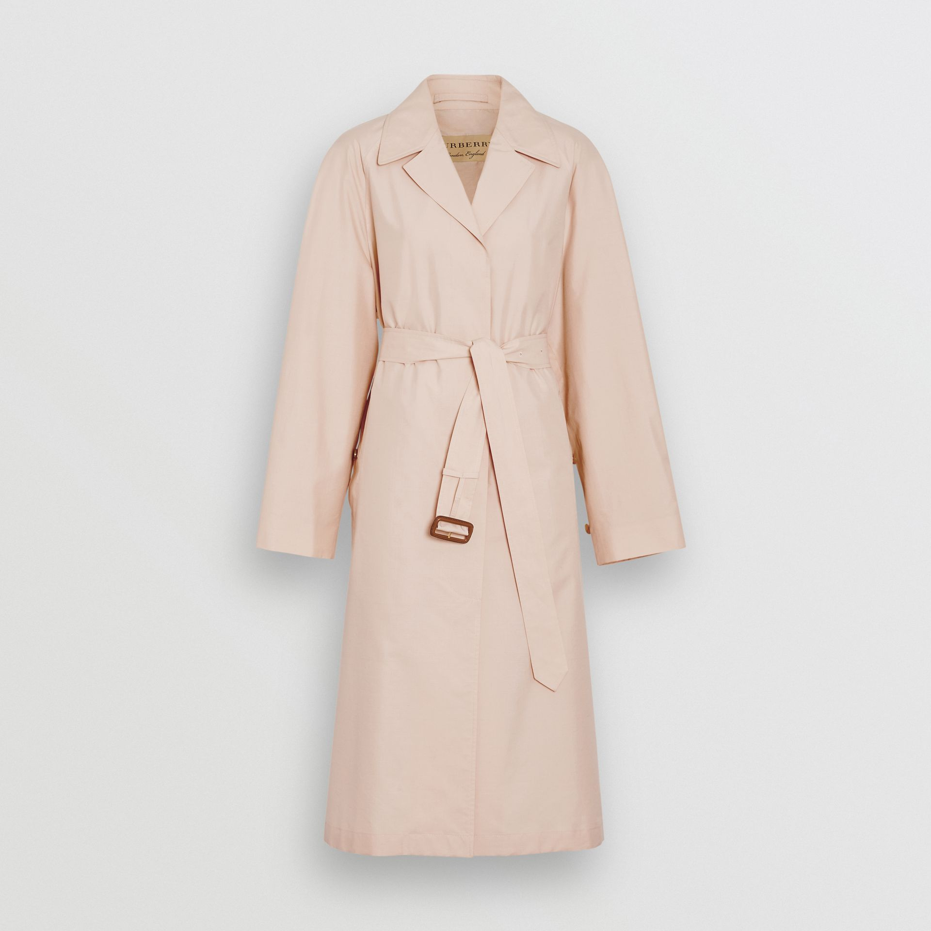 Belted Check Cotton Silk Car Coat in Chalk Pink - Women | Burberry - gallery image 3