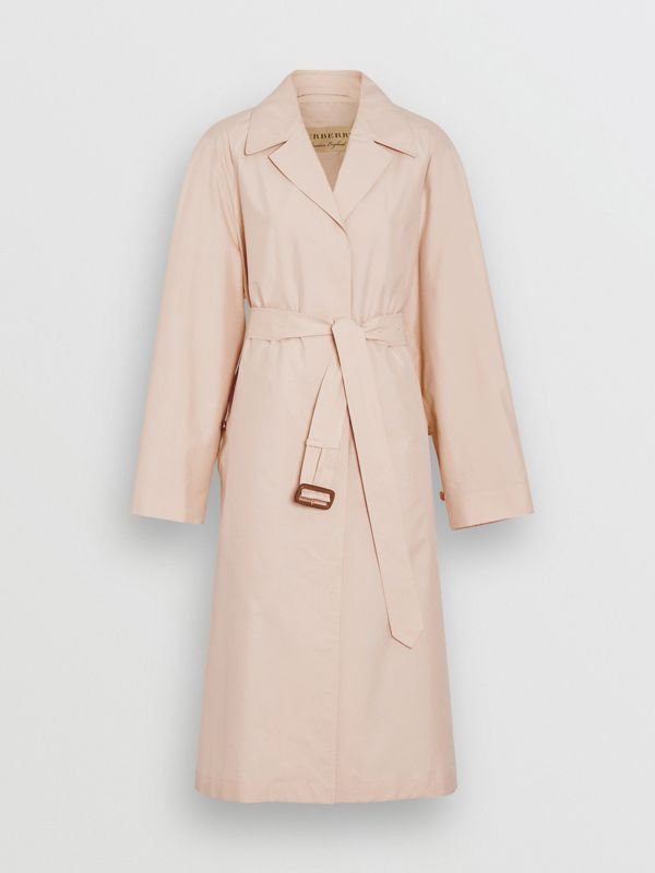 Belted Check Cotton Silk Car Coat in Chalk Pink - Women | Burberry - cell image 3