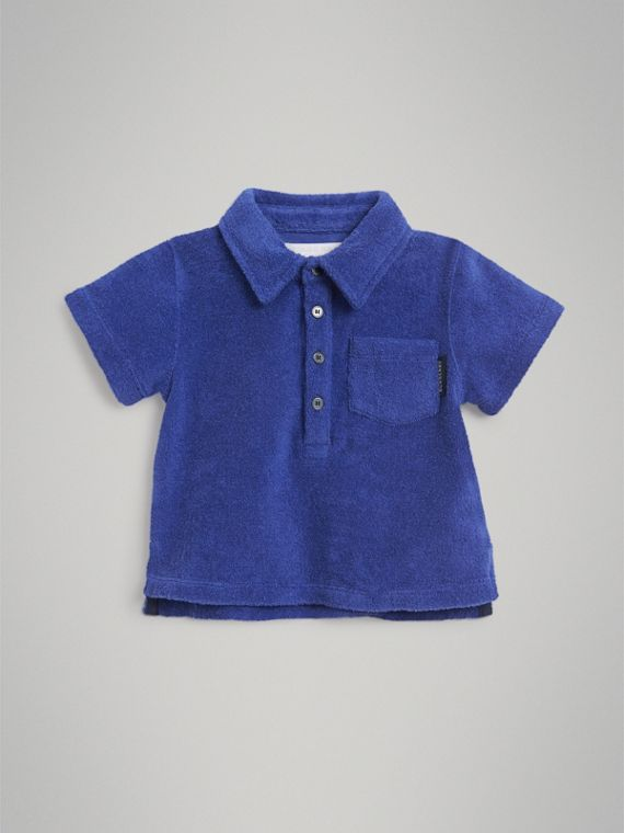 Towelling Polo Shirt in Hydrangea Blue