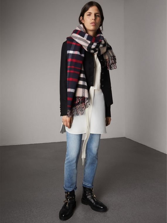 Check Wool Cashmere Oversize Scarf in Navy | Burberry United States - cell image 2