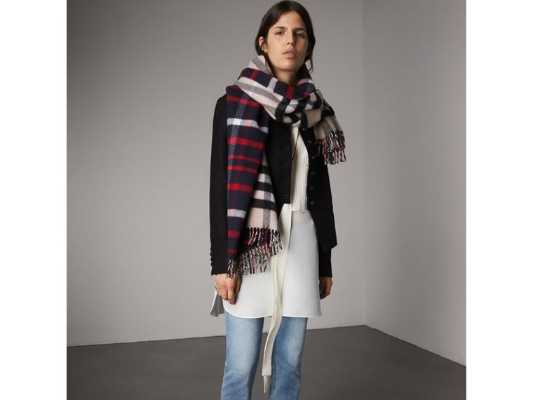 Check Wool Cashmere Oversize Scarf in Navy | Burberry Australia - cell image 2