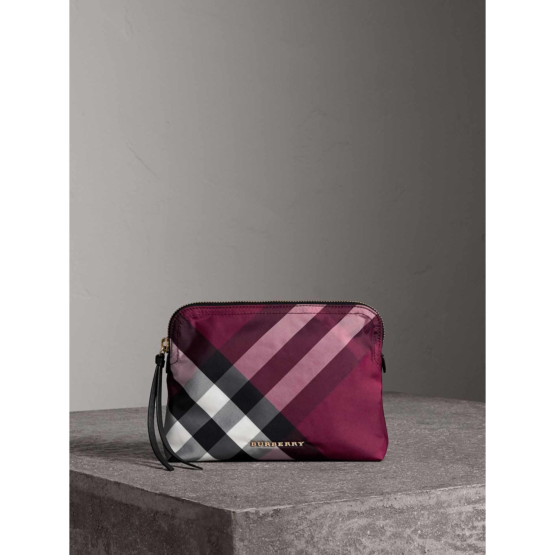 Large Zip-top Check Pouch in Plum - Women | Burberry - gallery image 1