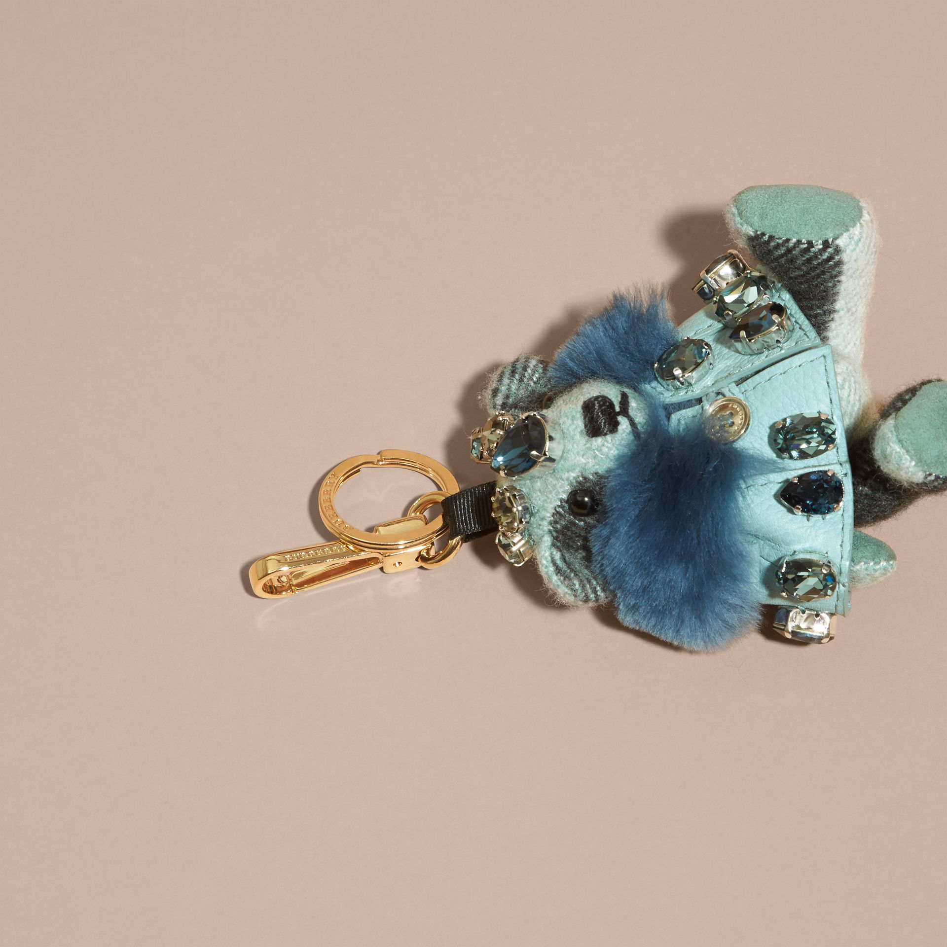 Thomas Bear Charm with Cape and Crystals in Light Mint - Women | Burberry - gallery image 3