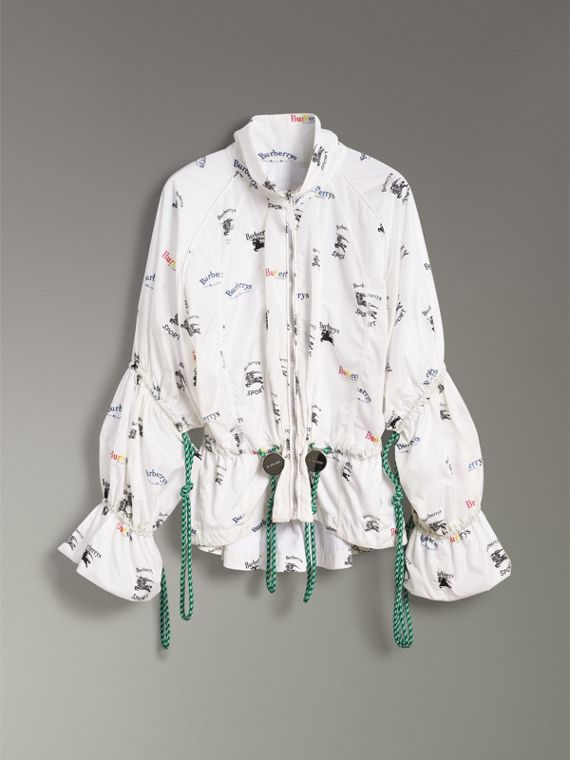 Triple Archive Logo Print Shell Jacket in Multicolour - Women | Burberry - cell image 3