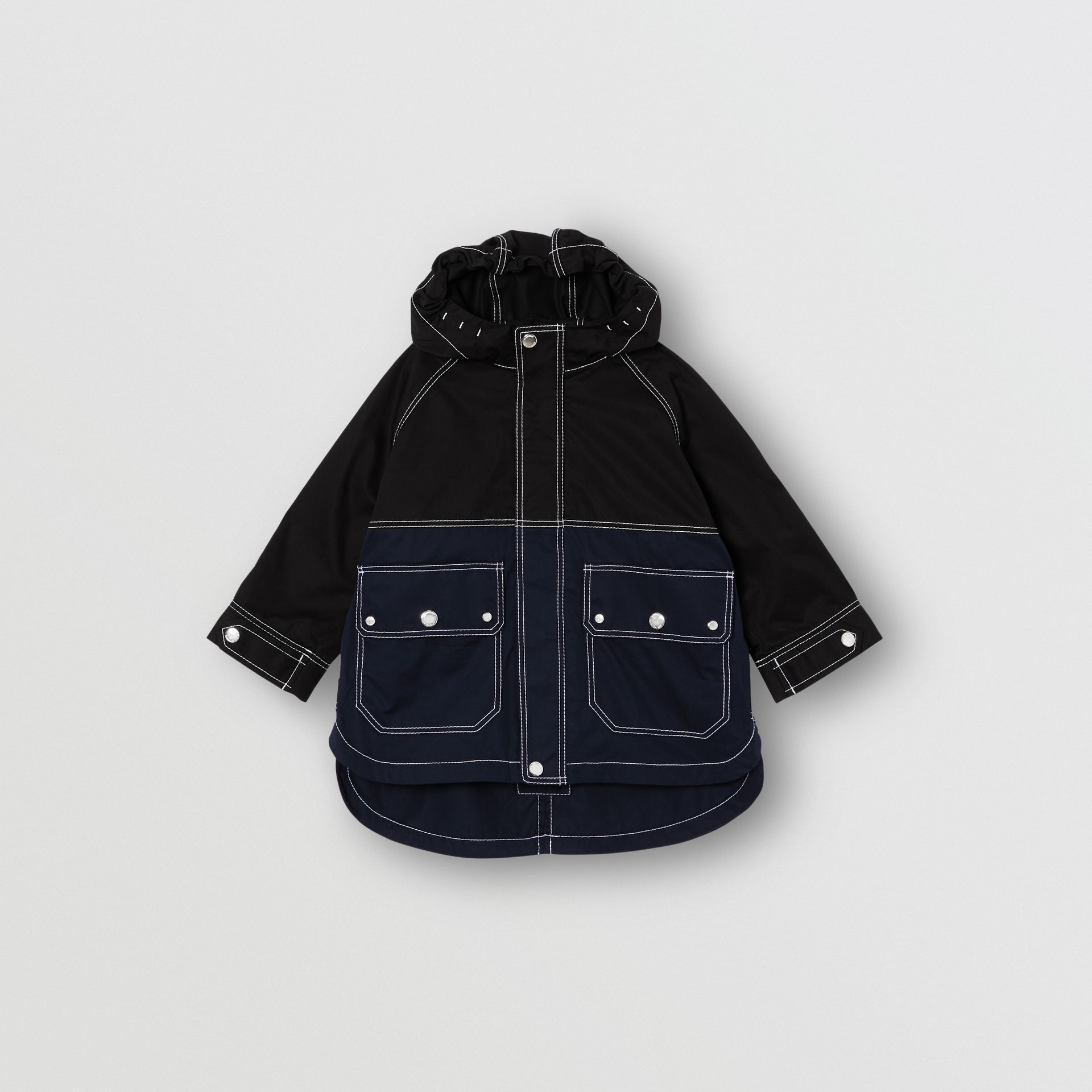 Topstitched Cotton Hooded Jacket in Black - Children | Burberry - gallery image 0