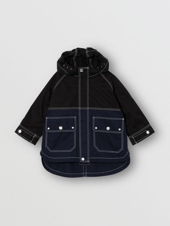 Topstitched Cotton Hooded Jacket in Black