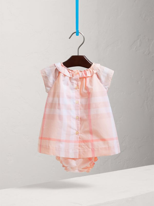 Check Cotton Poplin Dress with Bloomers in Ice Pink | Burberry - cell image 3