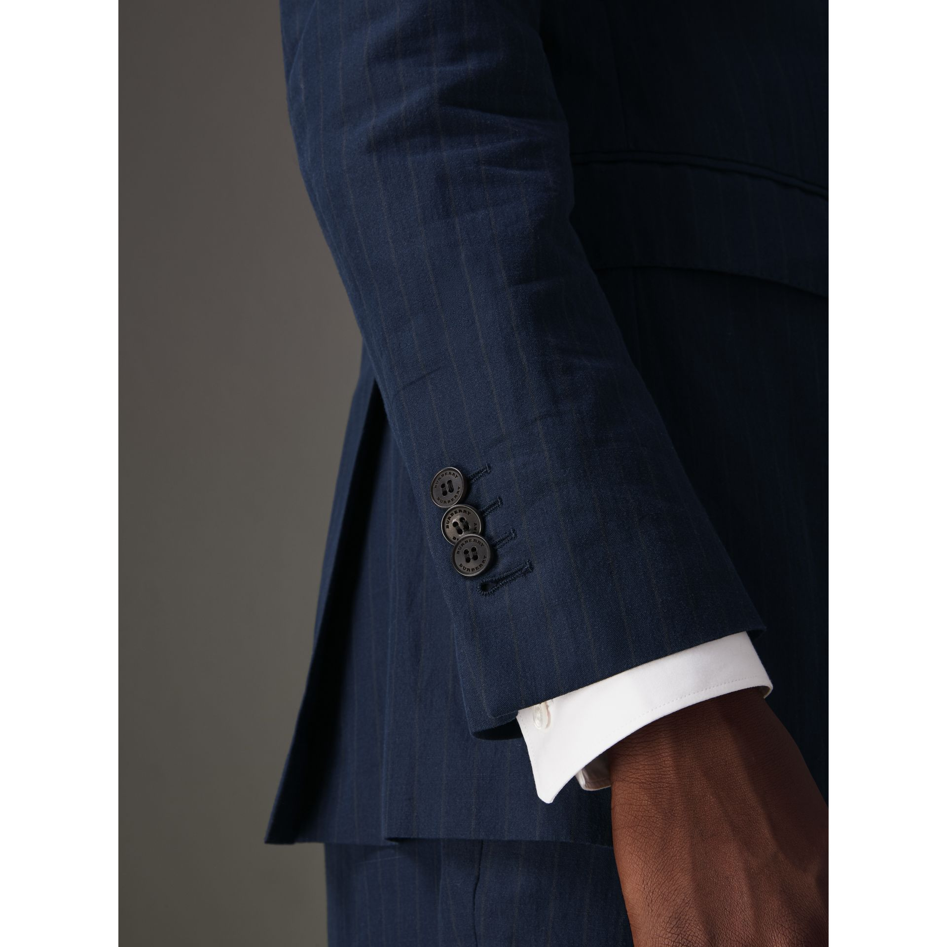 Slim Fit Pinstripe Ramie Cotton Suit in Navy - Men | Burberry United Kingdom - gallery image 4