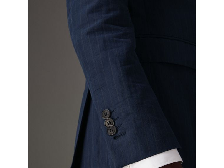 Slim Fit Pinstripe Ramie Cotton Suit in Navy - Men | Burberry Singapore - cell image 4