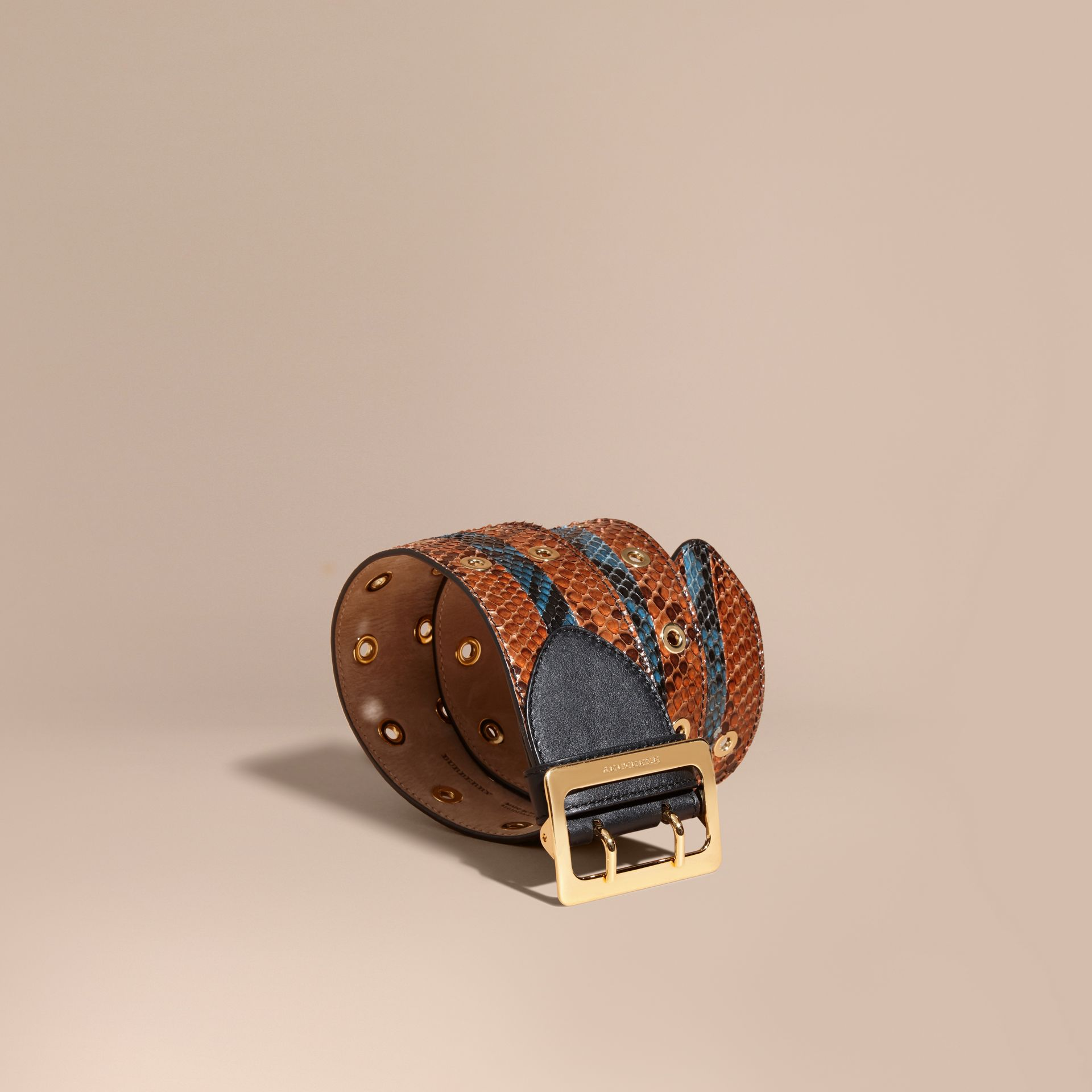 Striped Snakeskin Waist Belt in Tan/mineral Blue - Women | Burberry - gallery image 1