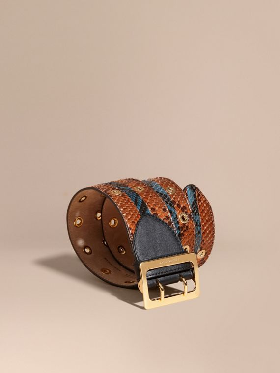 Striped Snakeskin Waist Belt in Tan/mineral Blue