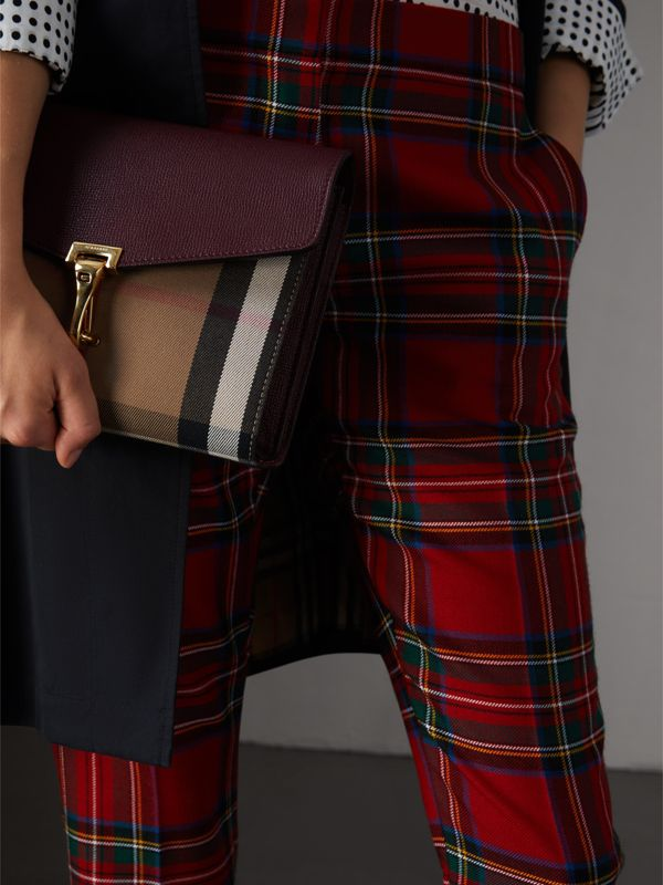 Small Leather and House Check Crossbody Bag in Mahogany Red - Women | Burberry Singapore - cell image 3