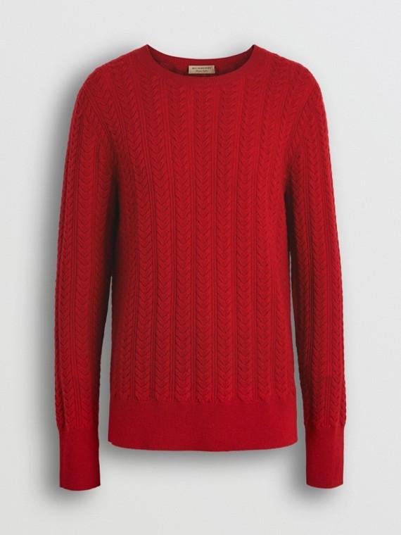 Pullover in cashmere con lavorazione a trecce (Rosso Militare)