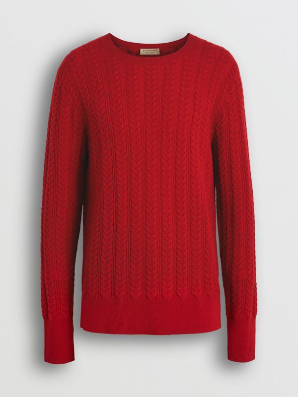 Cable Knit Cashmere Sweater in Military Red - Men | Burberry - cell image 3