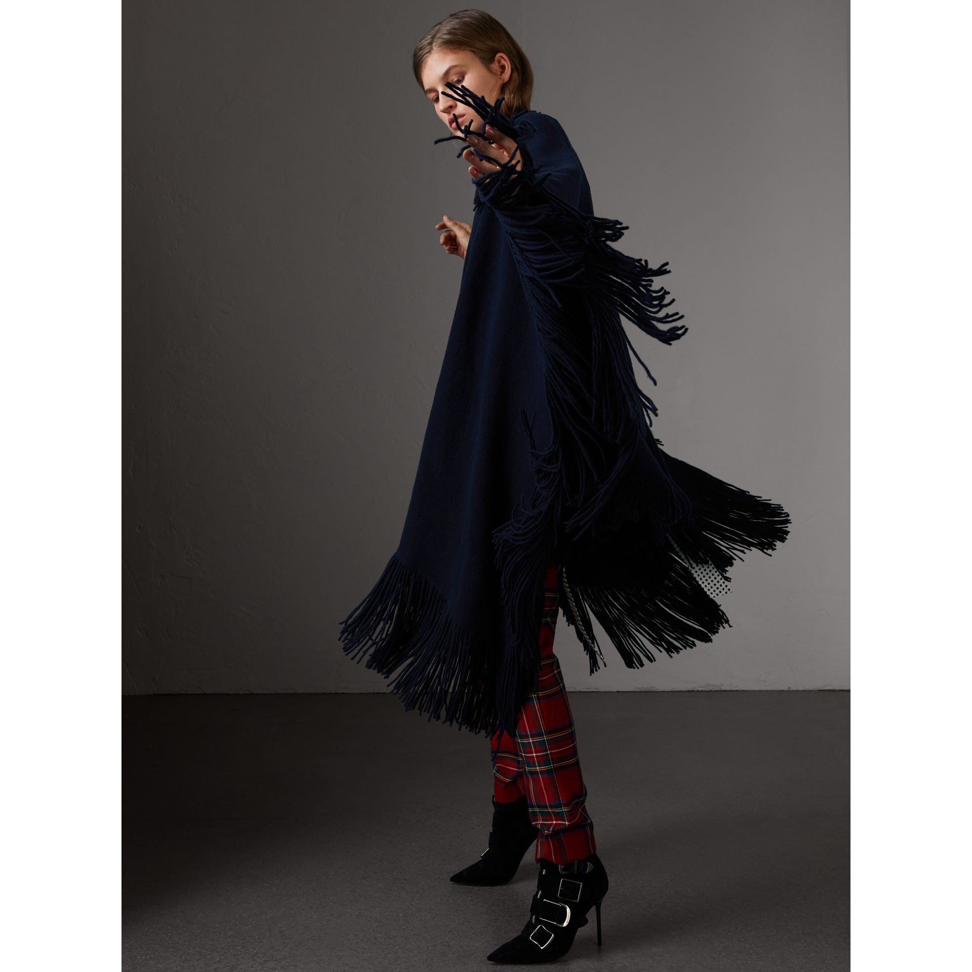 Fringed Wool Cashmere Blend Poncho in Navy - Women | Burberry Australia - gallery image 4