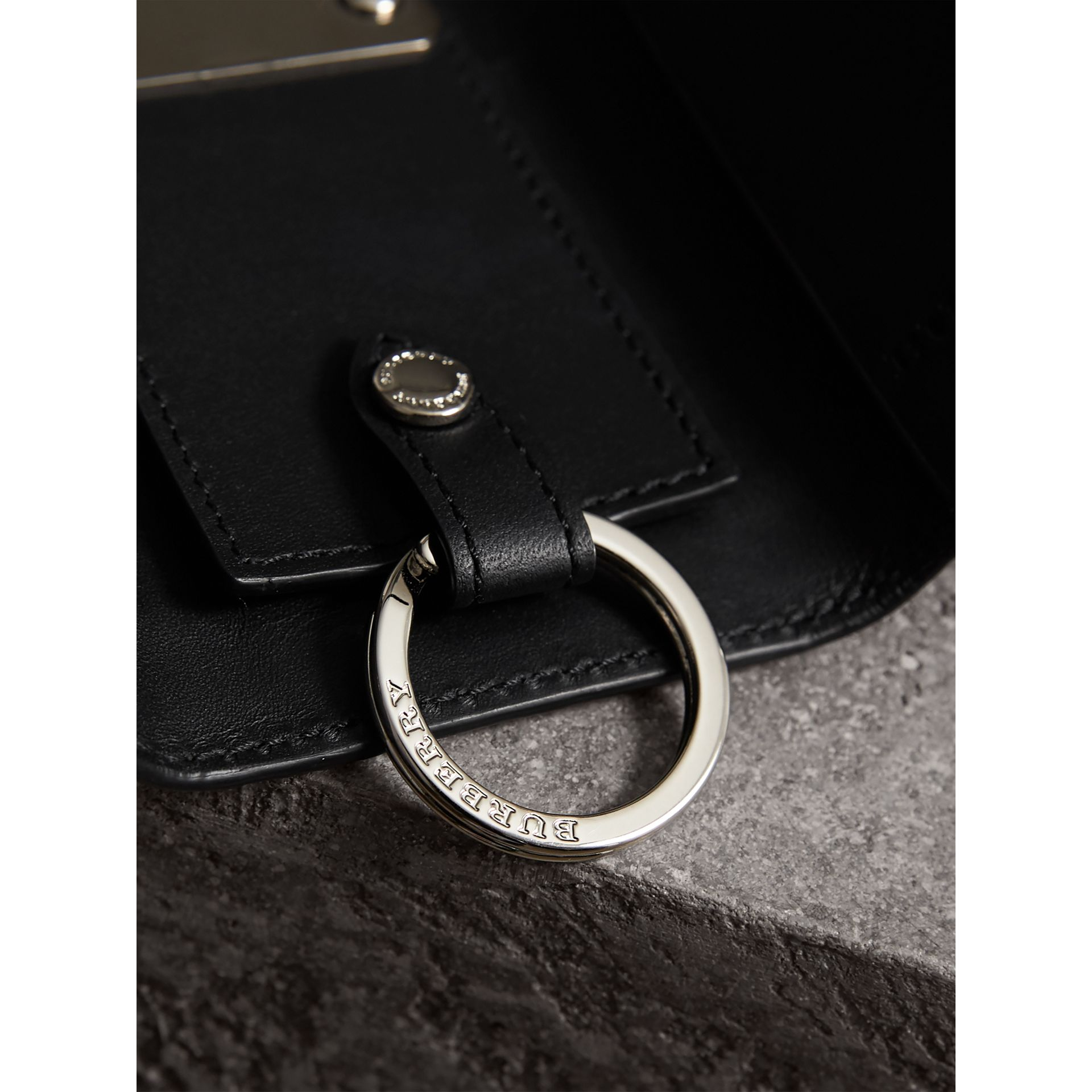 Haymarket Check and Leather Key Holder in Black - Men | Burberry - gallery image 1