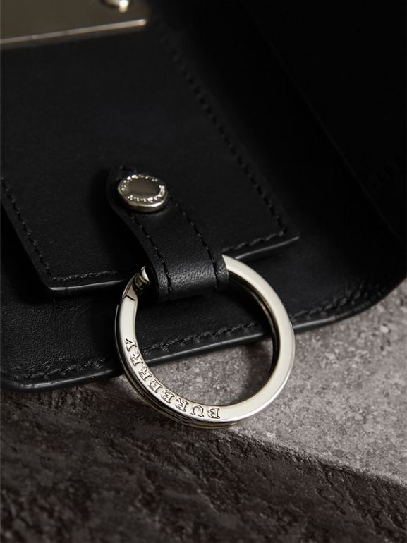 Haymarket Check and Leather Key Holder in Black - Men | Burberry - cell image 1