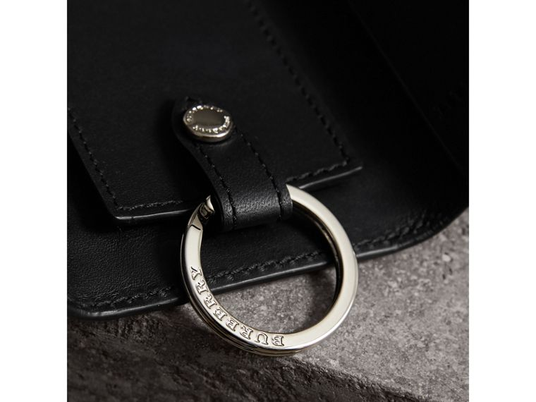 Haymarket Check and Leather Key Holder in Black - Men | Burberry United Kingdom - cell image 1