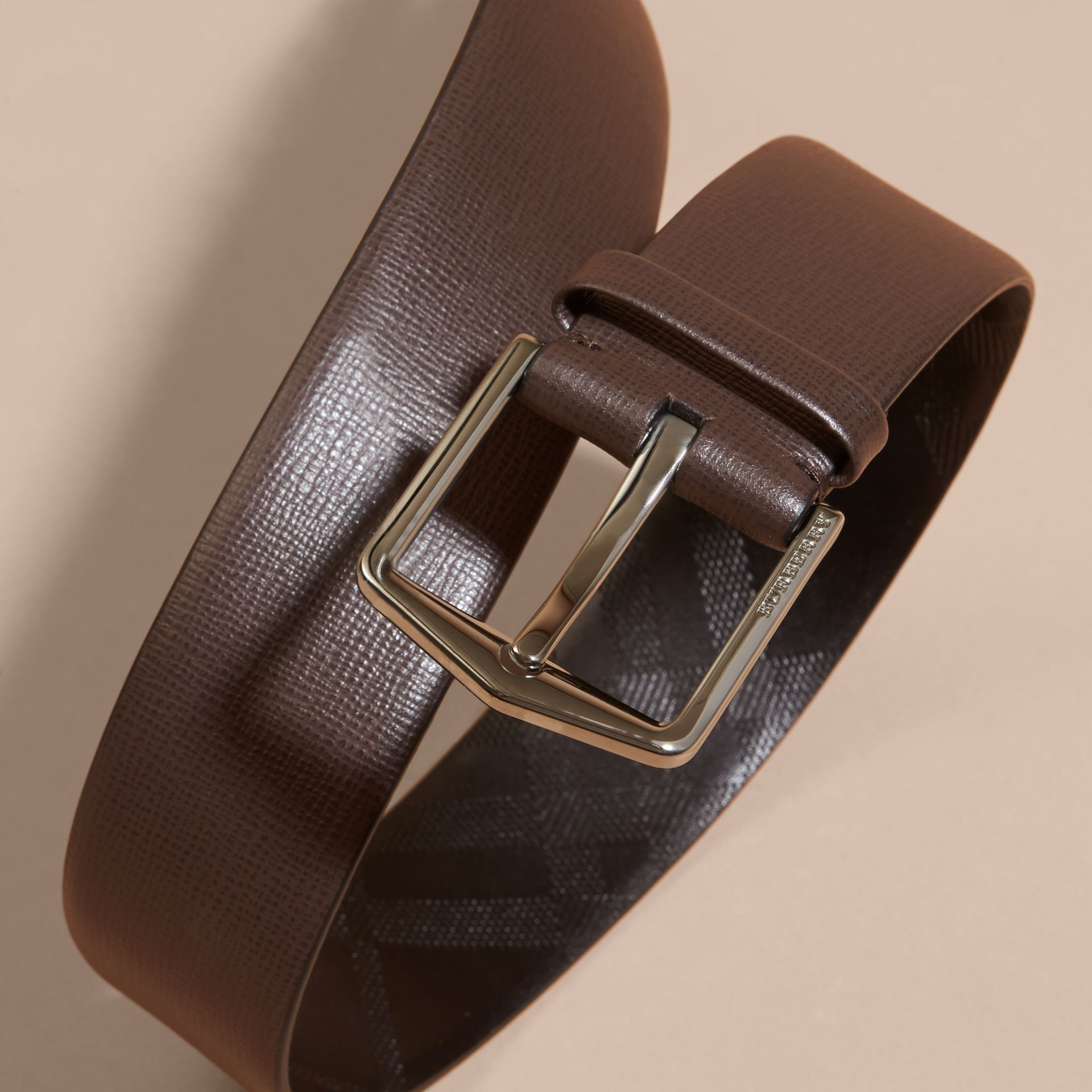 London Leather Belt with Check Detail in Bitter Chocolate - gallery image 2