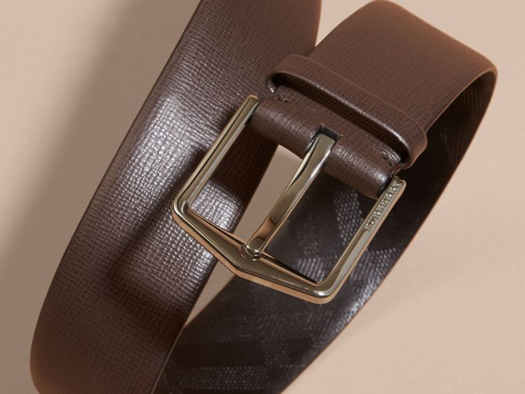 London Leather Belt with Check Detail in Bitter Chocolate - Men | Burberry - cell image 1