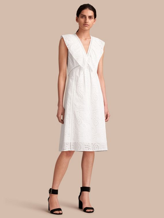 Sleeveless Broderie Anglaise Ruffle Detail Dress - Women | Burberry