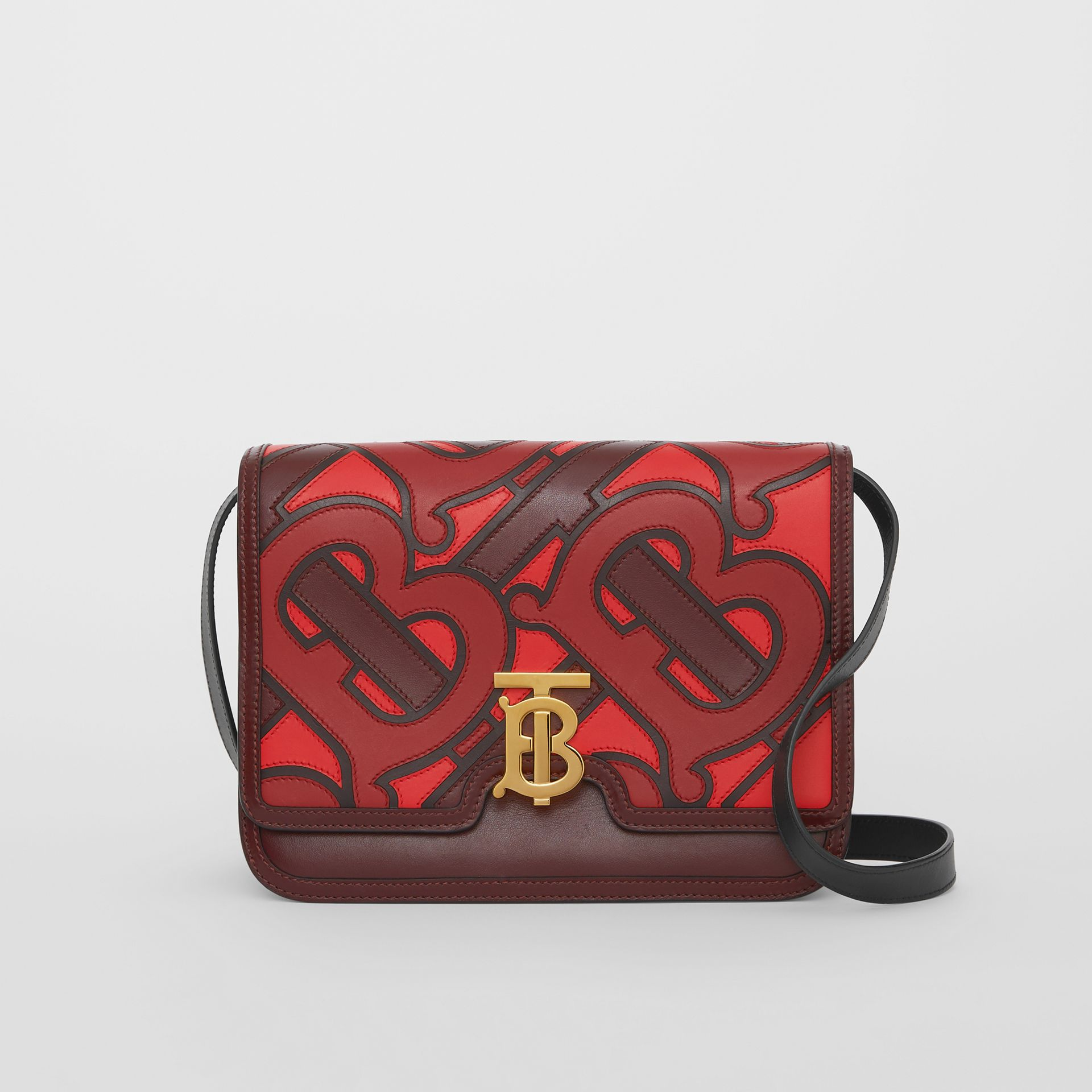 Medium Monogram Appliqué Leather TB Bag in Oxblood - Women | Burberry Singapore - gallery image 0