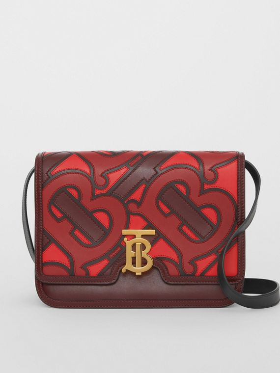 Medium Monogram Appliqué Leather TB Bag in Oxblood