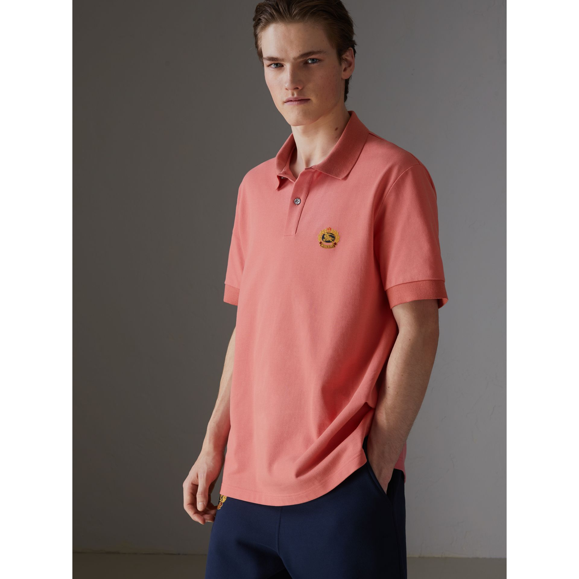 Reissued Cotton Polo Shirt in Coral - Men | Burberry United Kingdom - gallery image 4