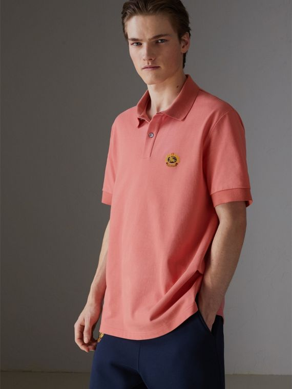 Reissued Cotton Polo Shirt in Coral