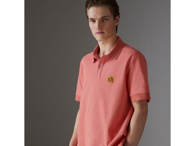 Reissued Cotton Polo Shirt in Coral - Men | Burberry Singapore - cell image 4