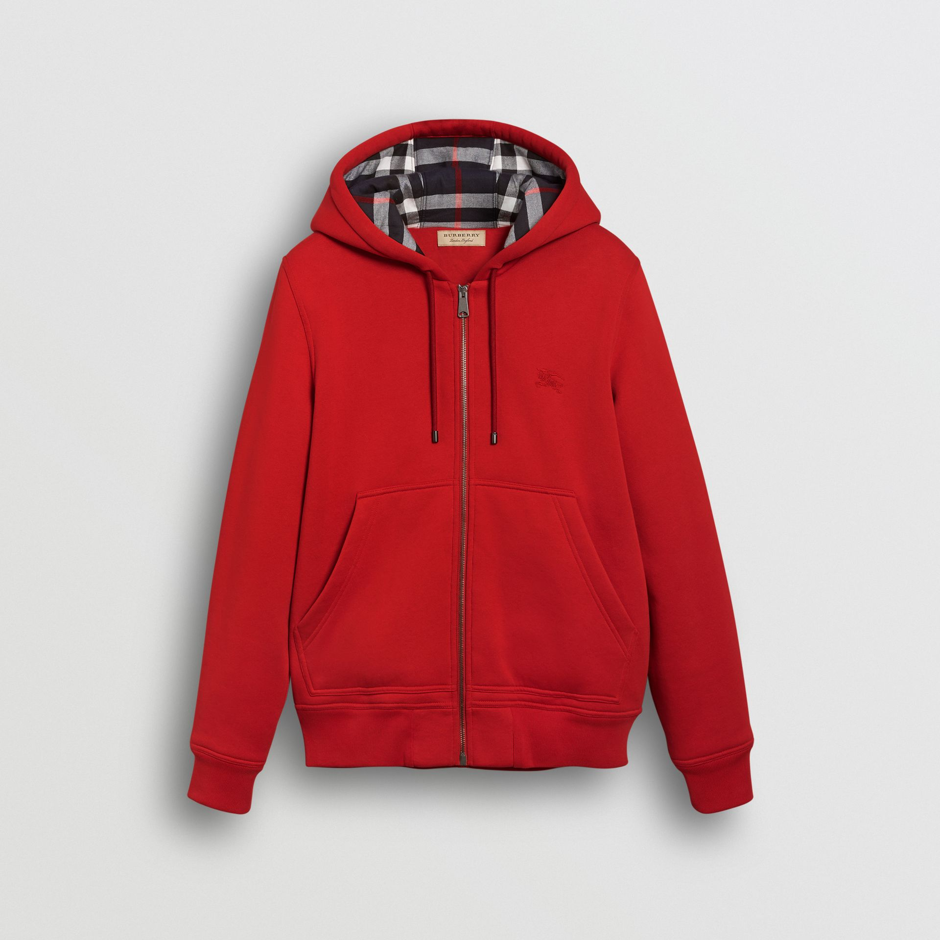 Check Detail Jersey Hooded Top in Military Red - Men | Burberry Canada - gallery image 3