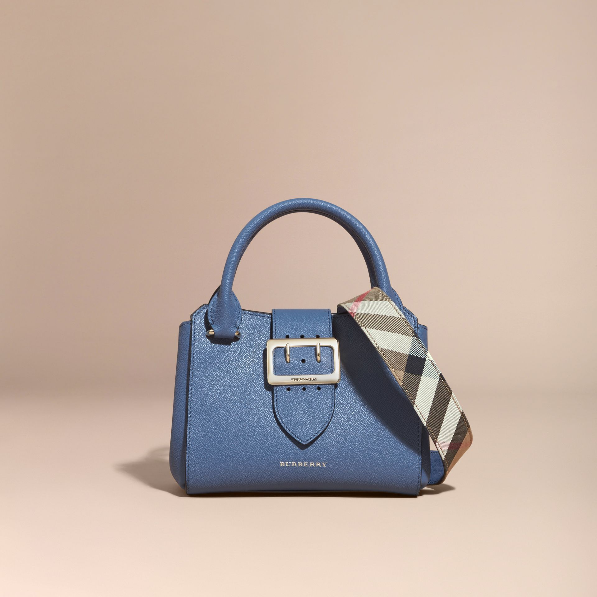 The Small Buckle Tote in Grainy Leather Steel Blue - gallery image 9