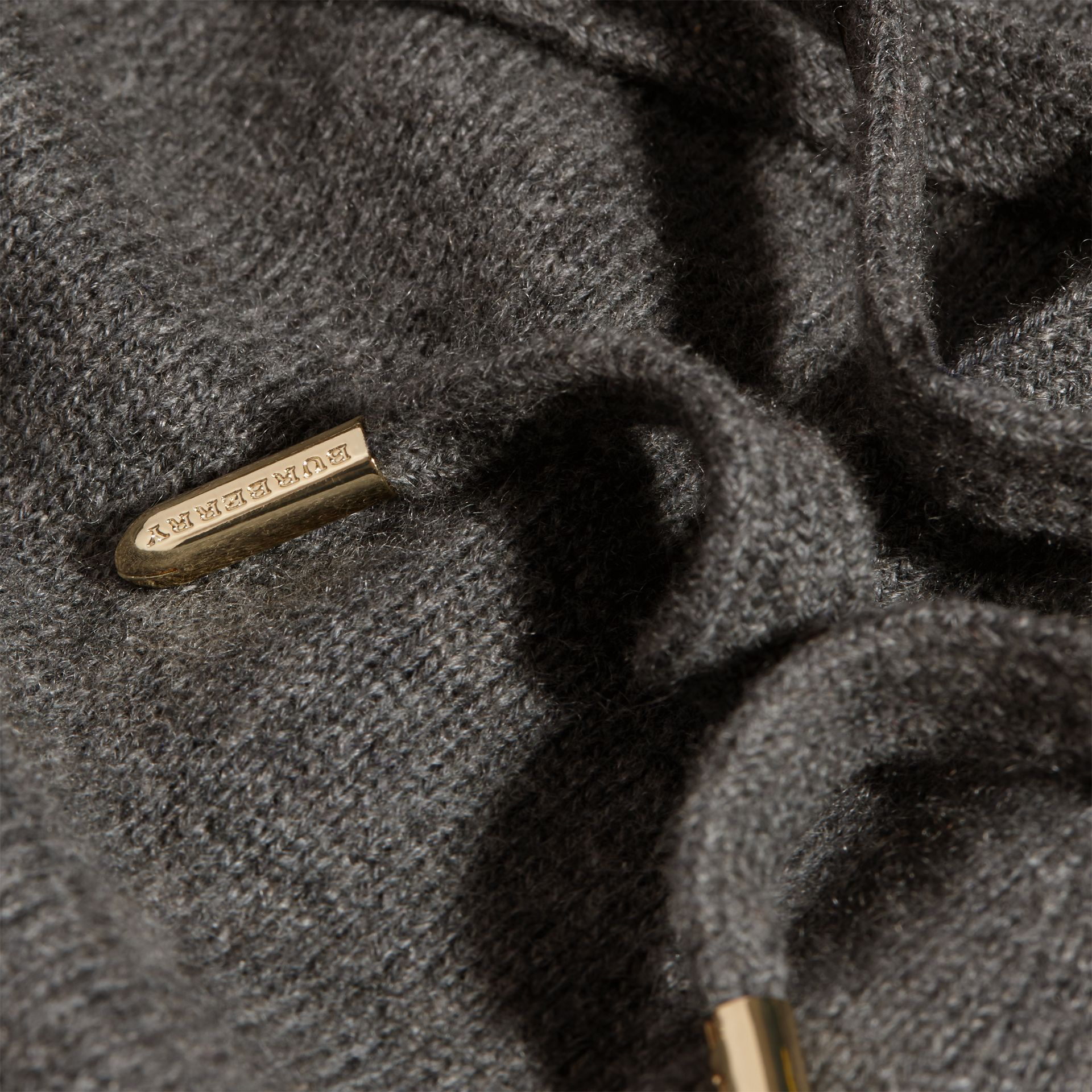 Dark grey melange Knitted Cashmere Cotton Joggers - gallery image 2