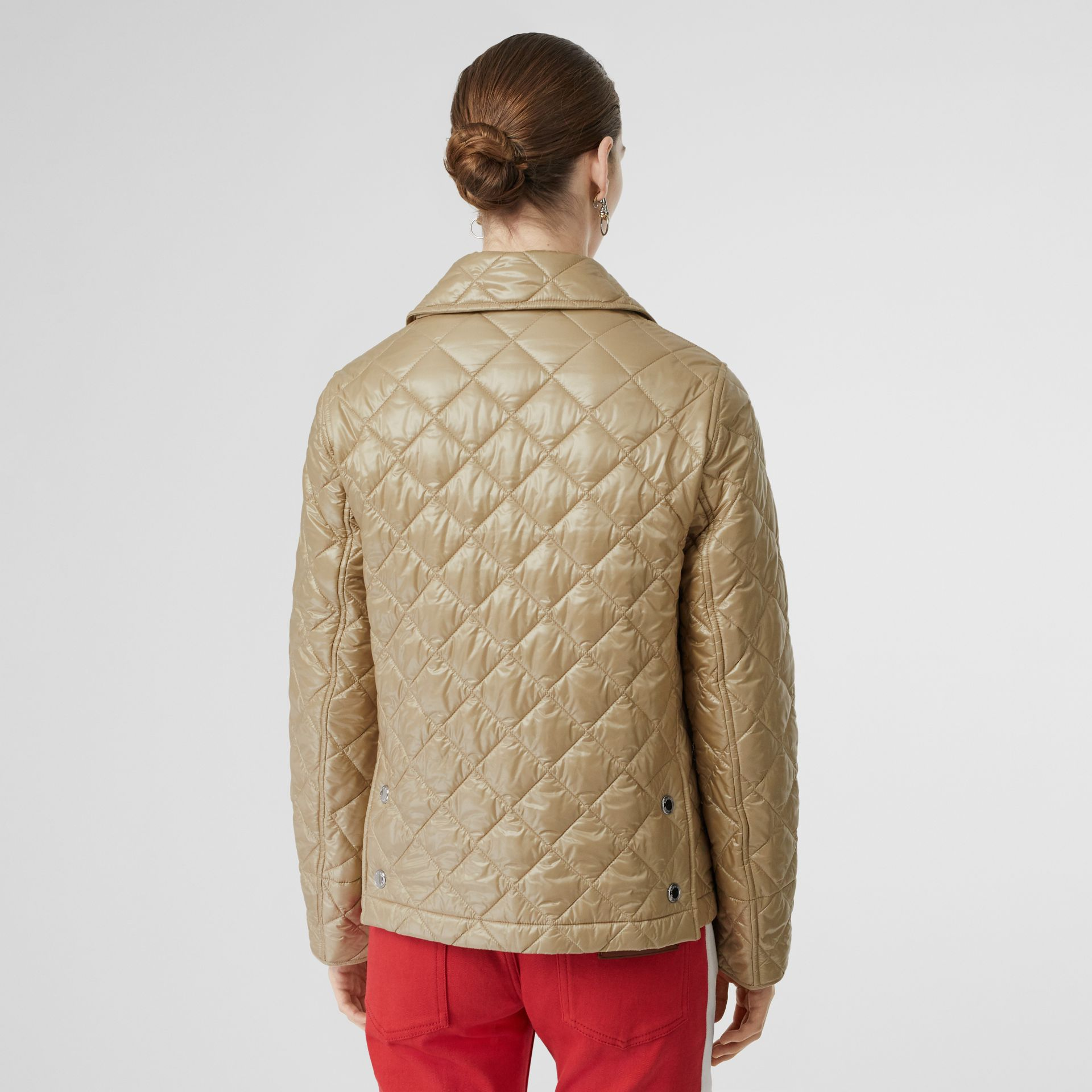 Monogram Motif Diamond Quilted Jacket in Honey - Women | Burberry - gallery image 2