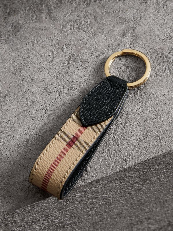Haymarket Check and Leather Key Ring in Black - Men | Burberry Singapore - cell image 2