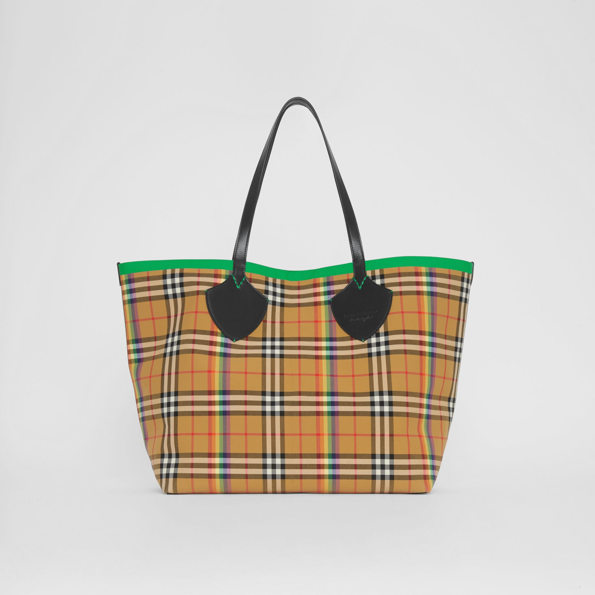 The Giant Tote in Rainbow Vintage Check in Antique Yellow | Burberry - gallery image 0