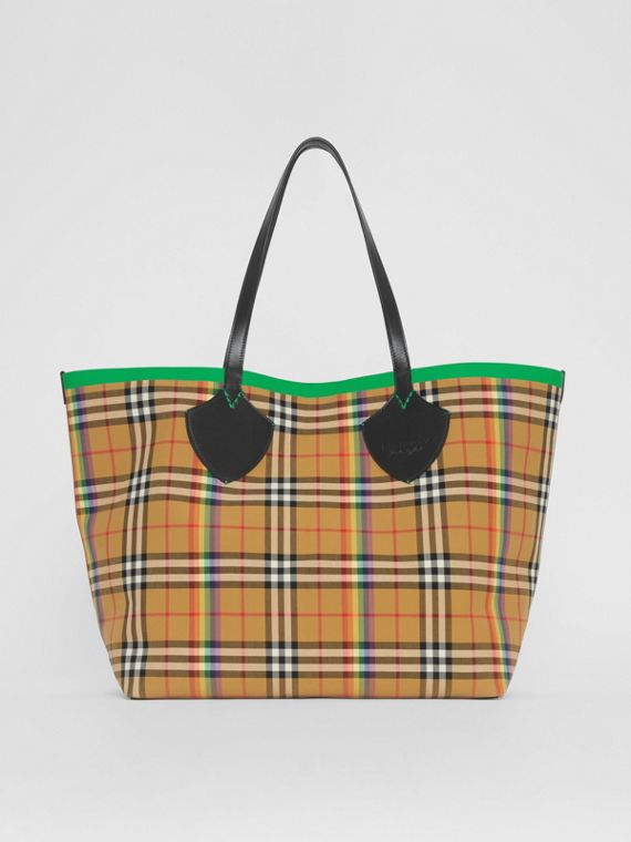 Borsa tote The Giant con motivo Rainbow vintage check (Giallo Antico)